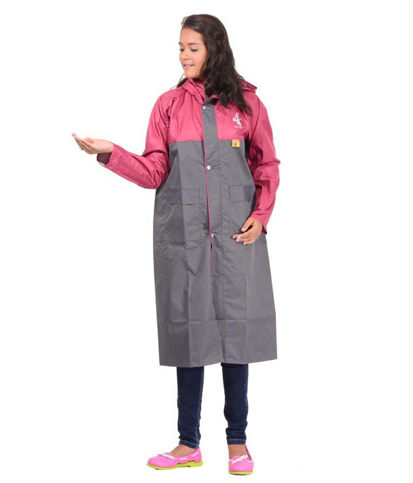 Allwin Polyester Girl's(kids) Longcoat Rainsuit Gray
