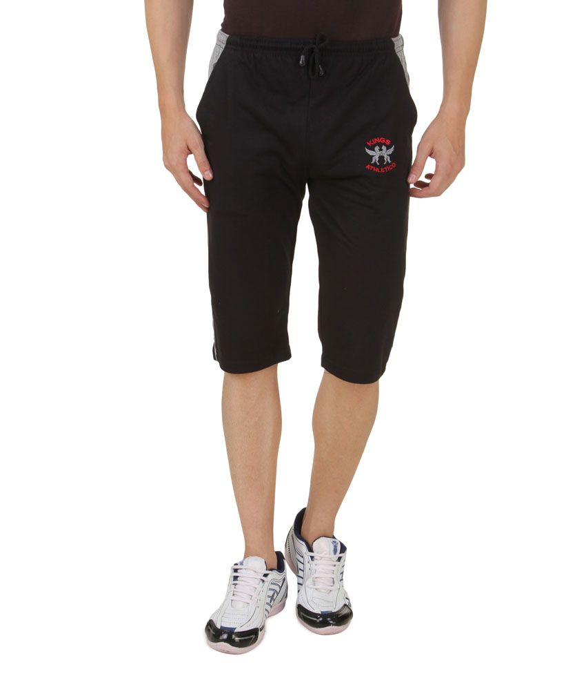 Hap Black Cotton Long Shorts