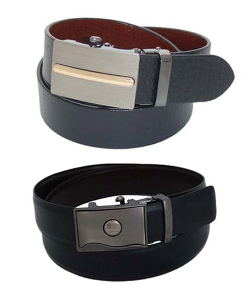 SFA Black & Gray Leather Belt Pack Of 2