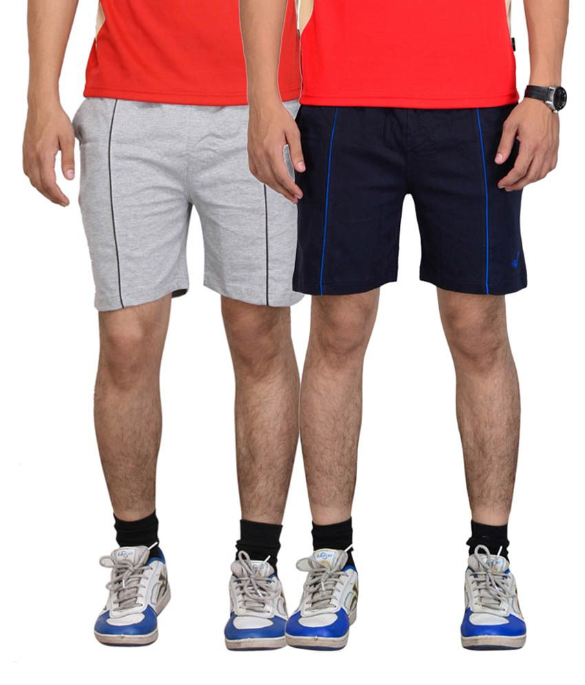 Vego Navy Blue & Gray Cotton Shorts for Men (Pack of 2)