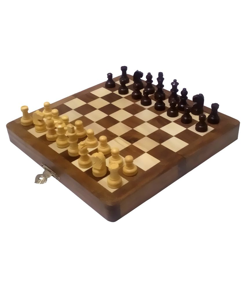 Aps Brown Sheesham Wood Magnetic Chess Board