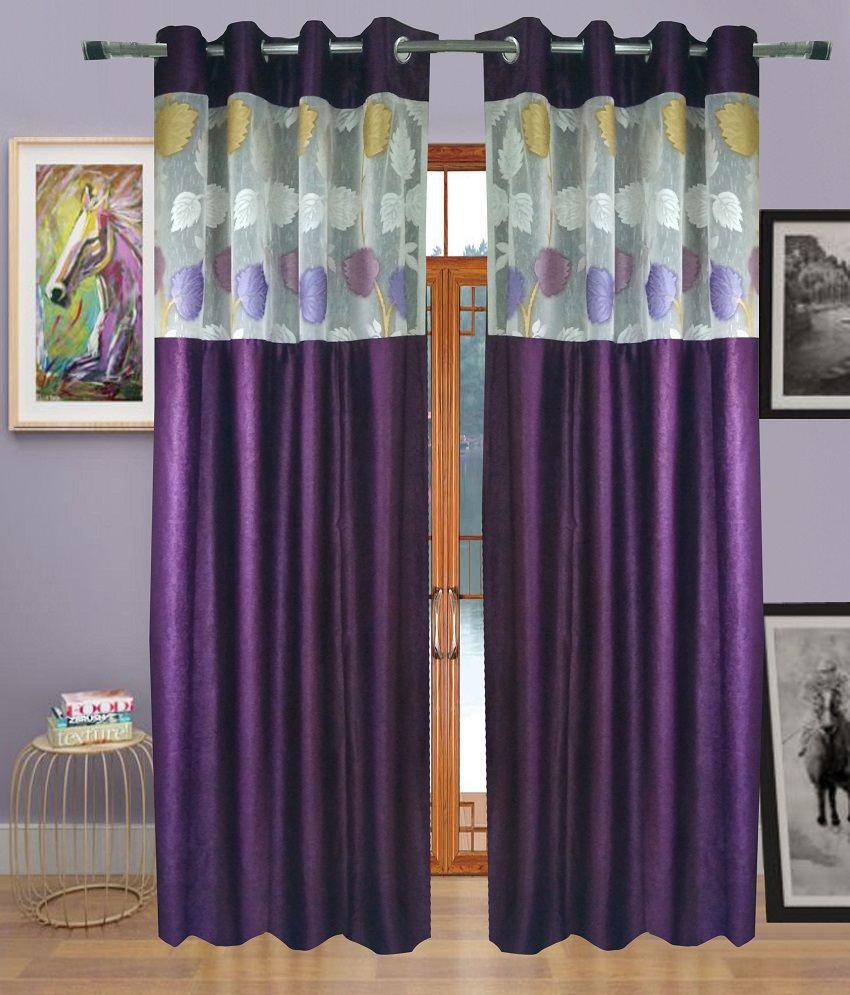 Homefab India Set of 2 Door Eyelet Curtains Solid Purple
