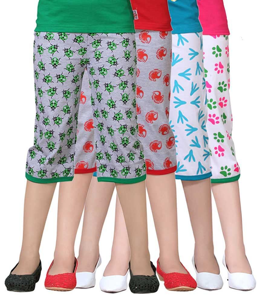 Sinimini Multicolour Capri For Girls Pack Of 4
