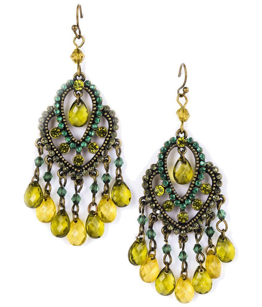 Ajara Green & Golden Style Diva Chandelier Earrings