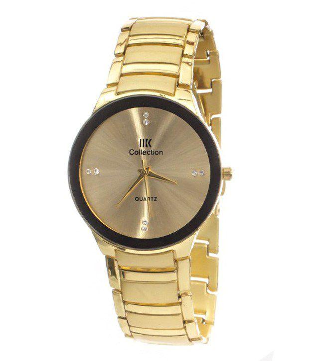 iik collection golden steel analog watch buy iik
