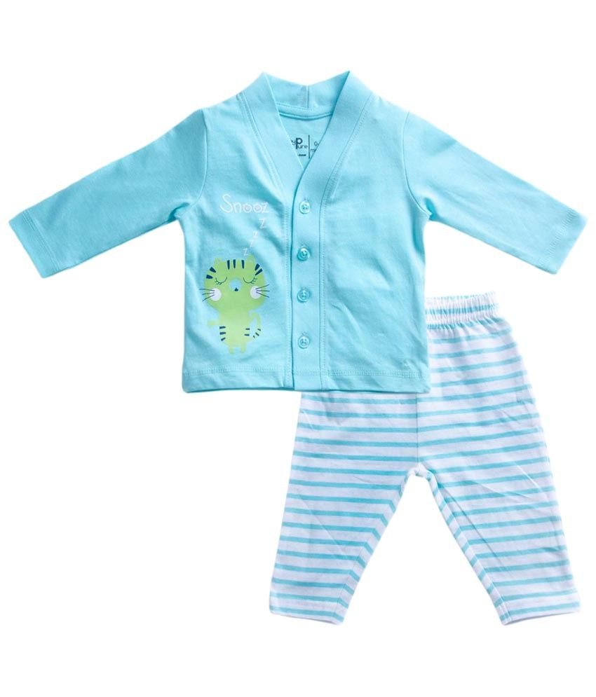 c6a57c52c Baby Pure Blue   White Cotton Night Suit for Boys - Buy Baby Pure ...