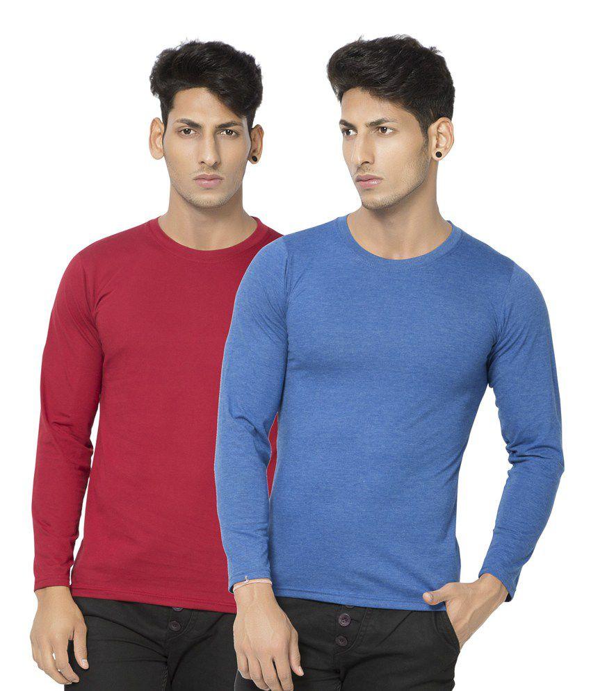 Alan Jones Light Blue Maroon Full Cotton Tshirt-Pack Of 2