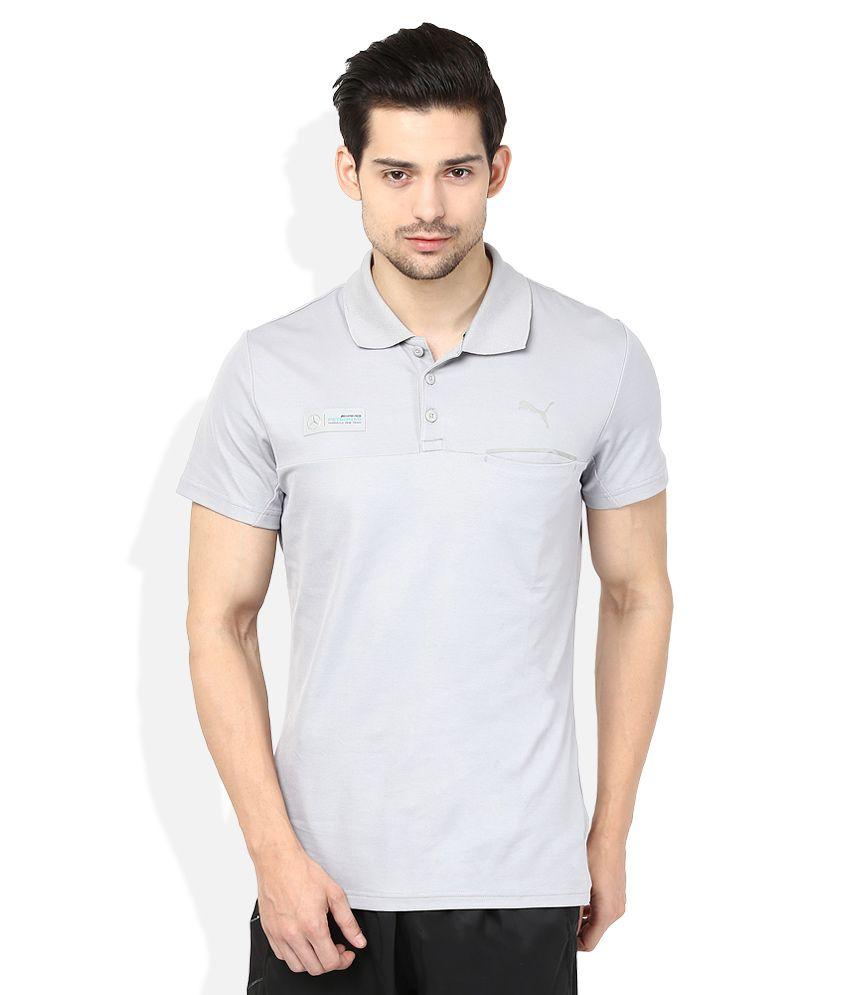 Puma Gray Solid Polo T Shirt