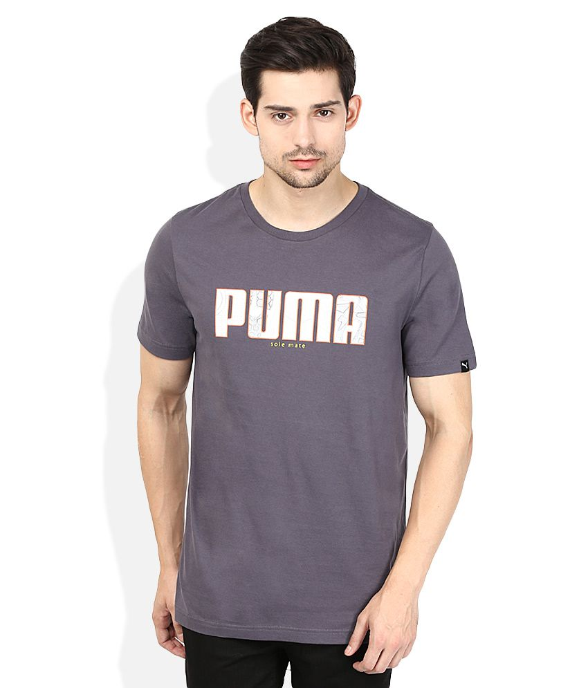Puma Grey Solid Round Neck T Shirt