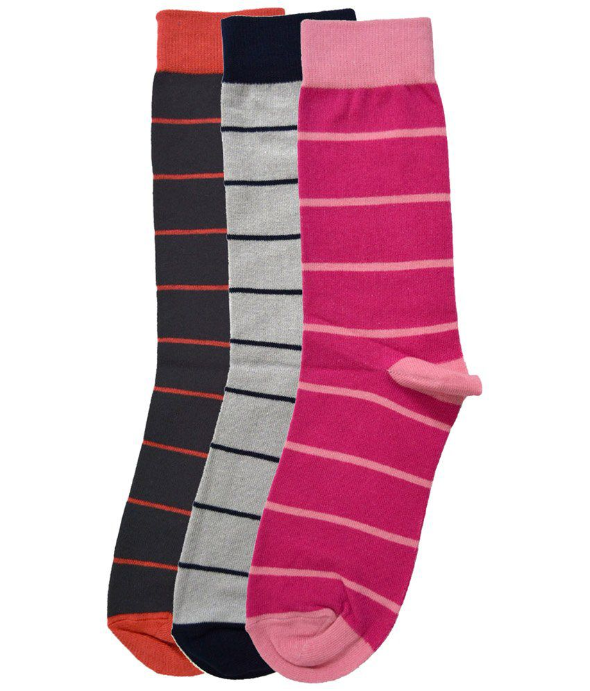 Tossido Pack of 3 Pink, Gray & Orange Pairs of Combed Cotton Socks for Men