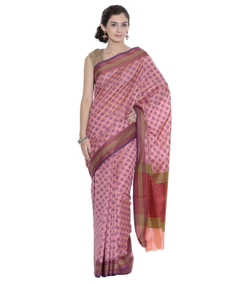 Kataan Bazaar Pink and Red Banarasi Handwoven Art Silk Saree with Blouse Piece