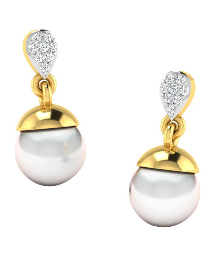 Sparkles 18kt Gold Drop Earrings with Real Diamonds