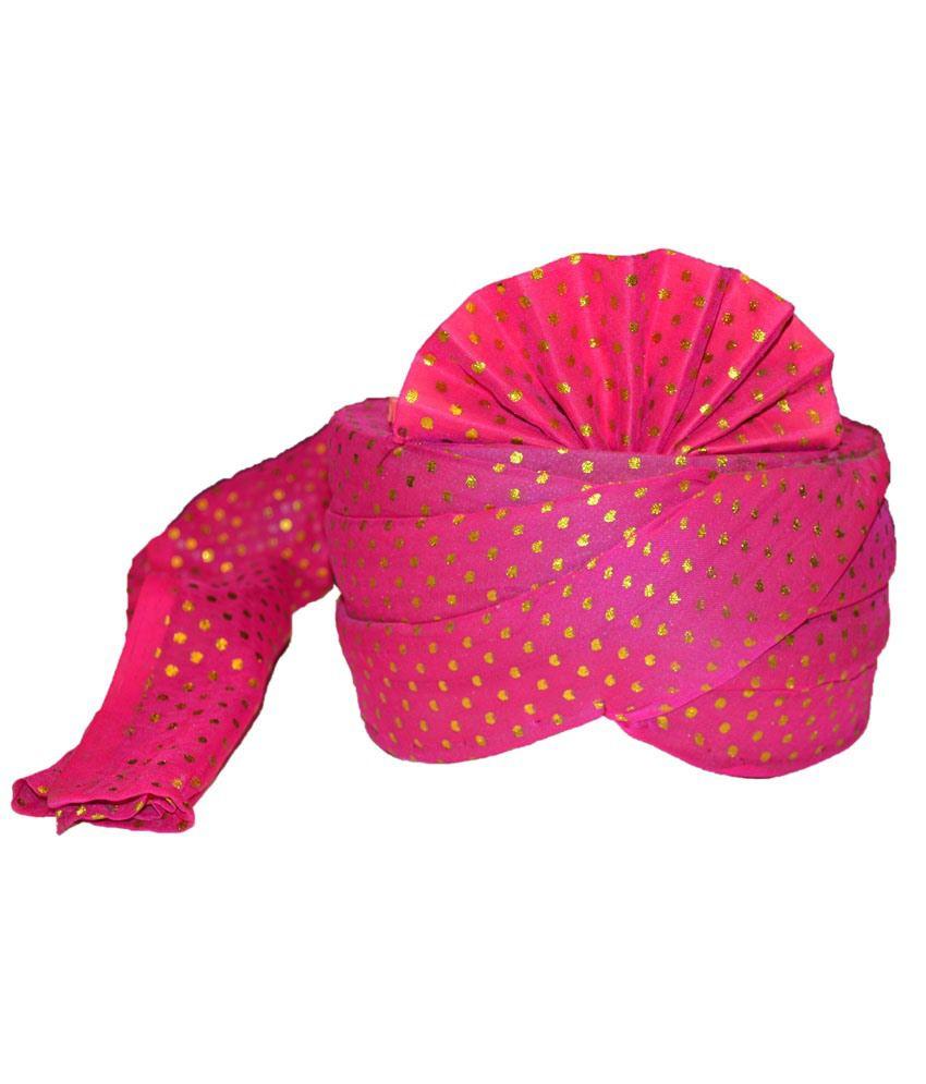 Sareez Pink & Green Cotton Wedding Turban