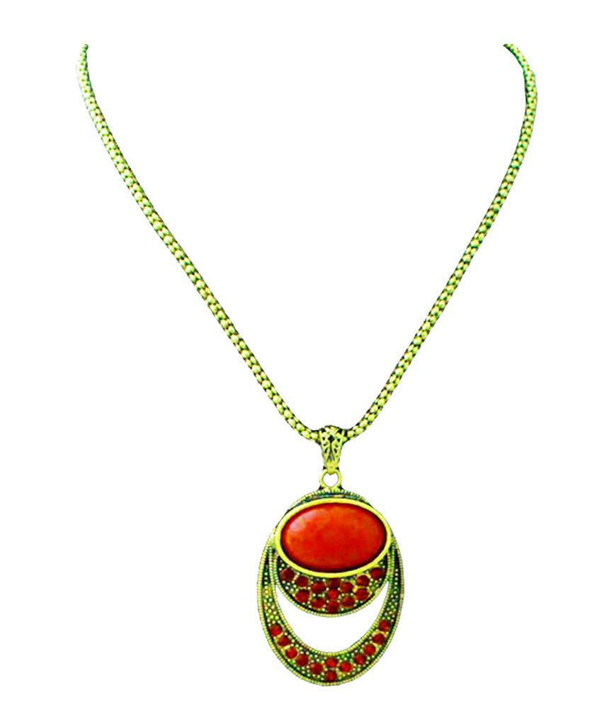 Beingwomen Red Alloy Chain Pendant