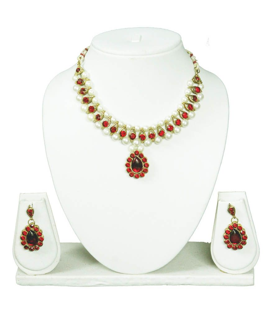 Beingwomen Red Alloy Earing&necklace Set