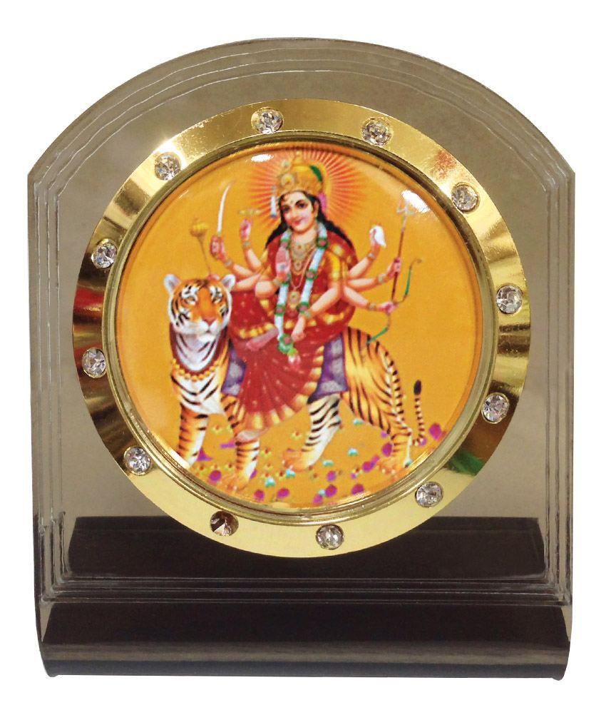 Bulb Centre Hindu God Idol Mata Temple Frame For Car Dashboard Ap