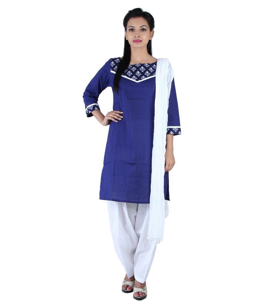 Jaipur Kurti Blue Cotton Salwar Suit