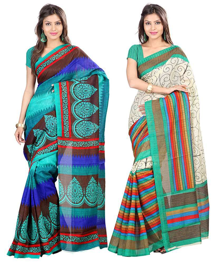 Lookslady Multicolor Art Silk Pack Of 2