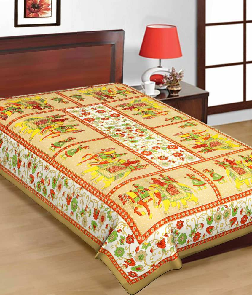 Bed Sheets Printed Cotton -  uniqchoice pure 100 cotton jaipuri traditional printed 2 single bed sheet combo