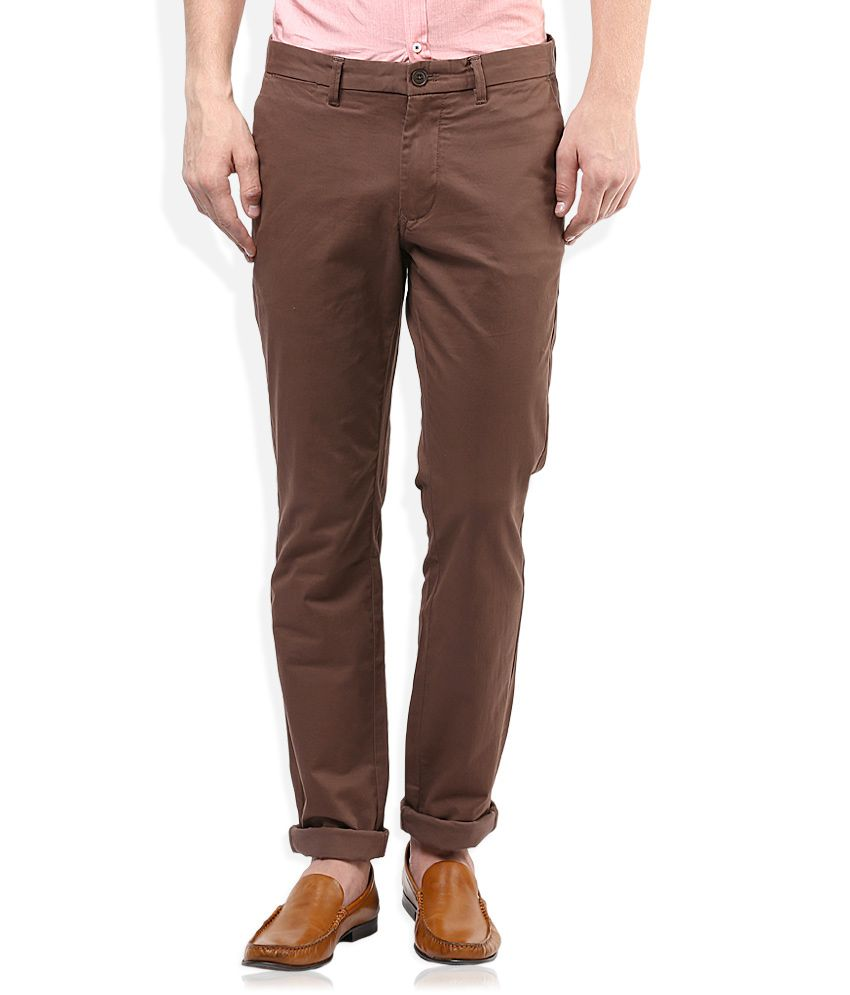 Indian Terrain Brown Slim Fit Casual Trouser With Free Belt