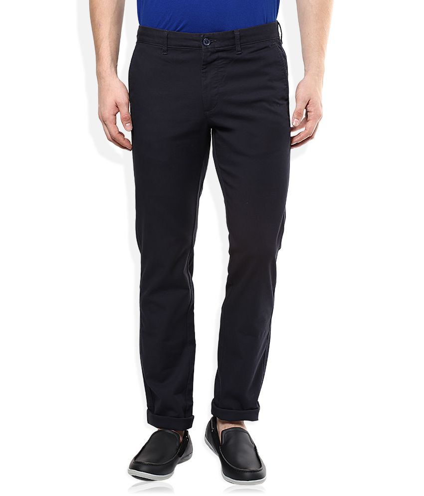 Indian Terrain Navy Slim Fit Casual Trouser