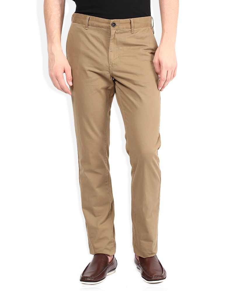 Indian Terrain Tan Slim Fit Casual Trouser