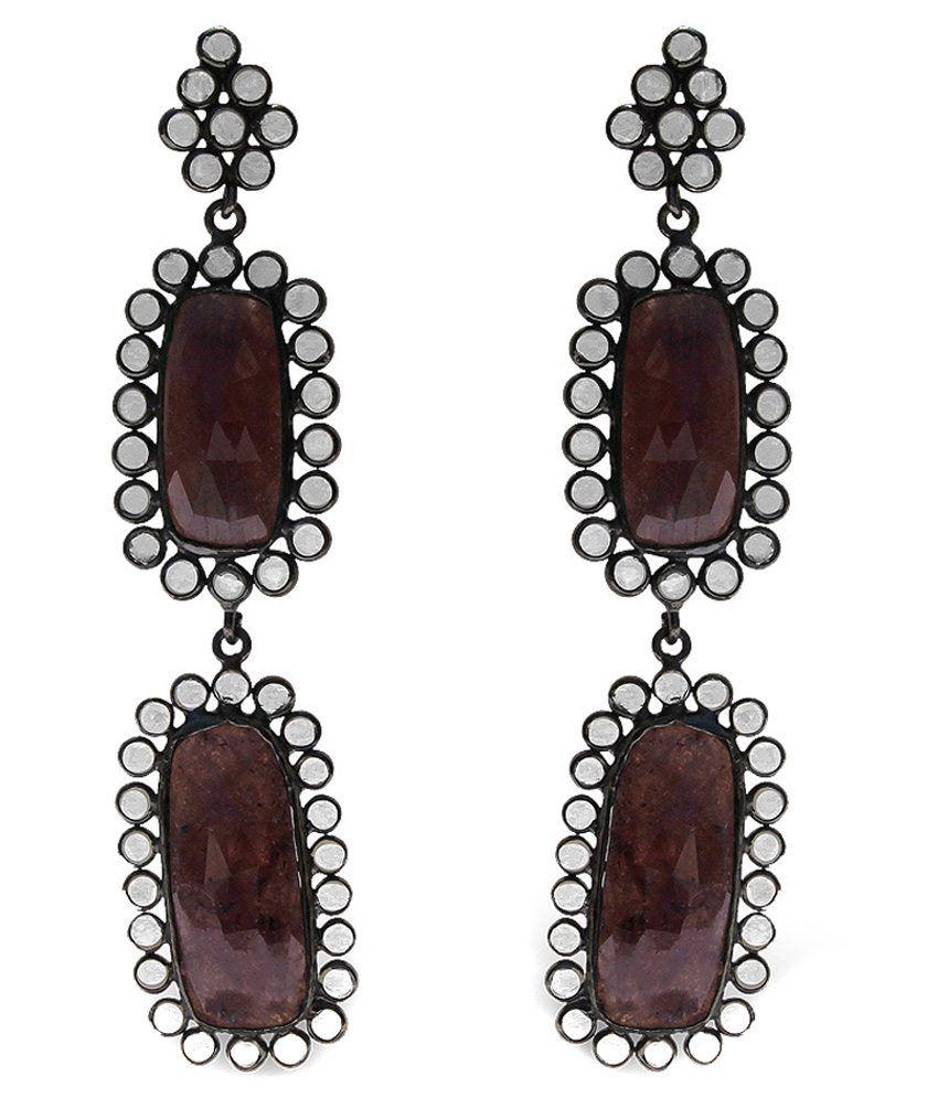 Oscar Brown Brass Drop Earrings