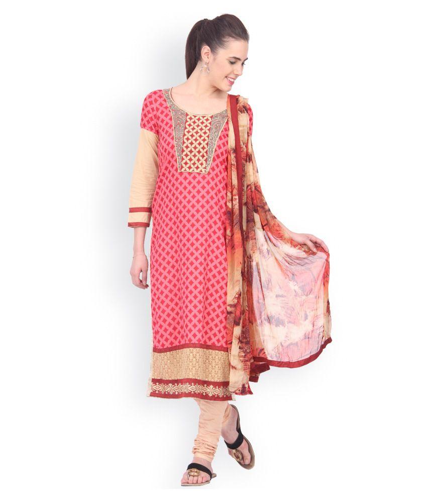 EthnicQueen Pink Cotton Stitched Suit