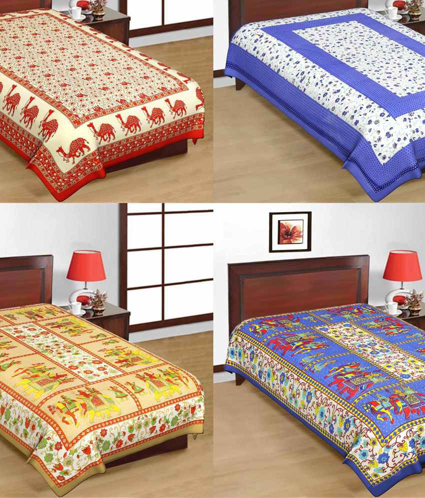 UniqChoice Pure 100% Cotton Jaipuri Traditional Printed 4 Single Bed Sheet  Combo ...