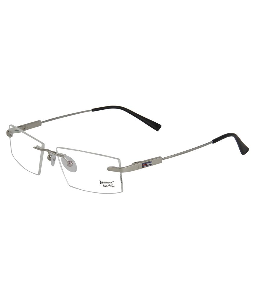fddaf56cb33 Zeemon Silver Metal Rimless Eyeglasses Frame - Buy Zeemon Silver Metal Rimless  Eyeglasses Frame Online at Low Price - Snapdeal