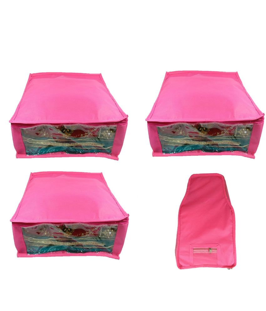 Addyz Pink Large Non-Woven 3 Saree Covers & 1 Blouse Cover Combo