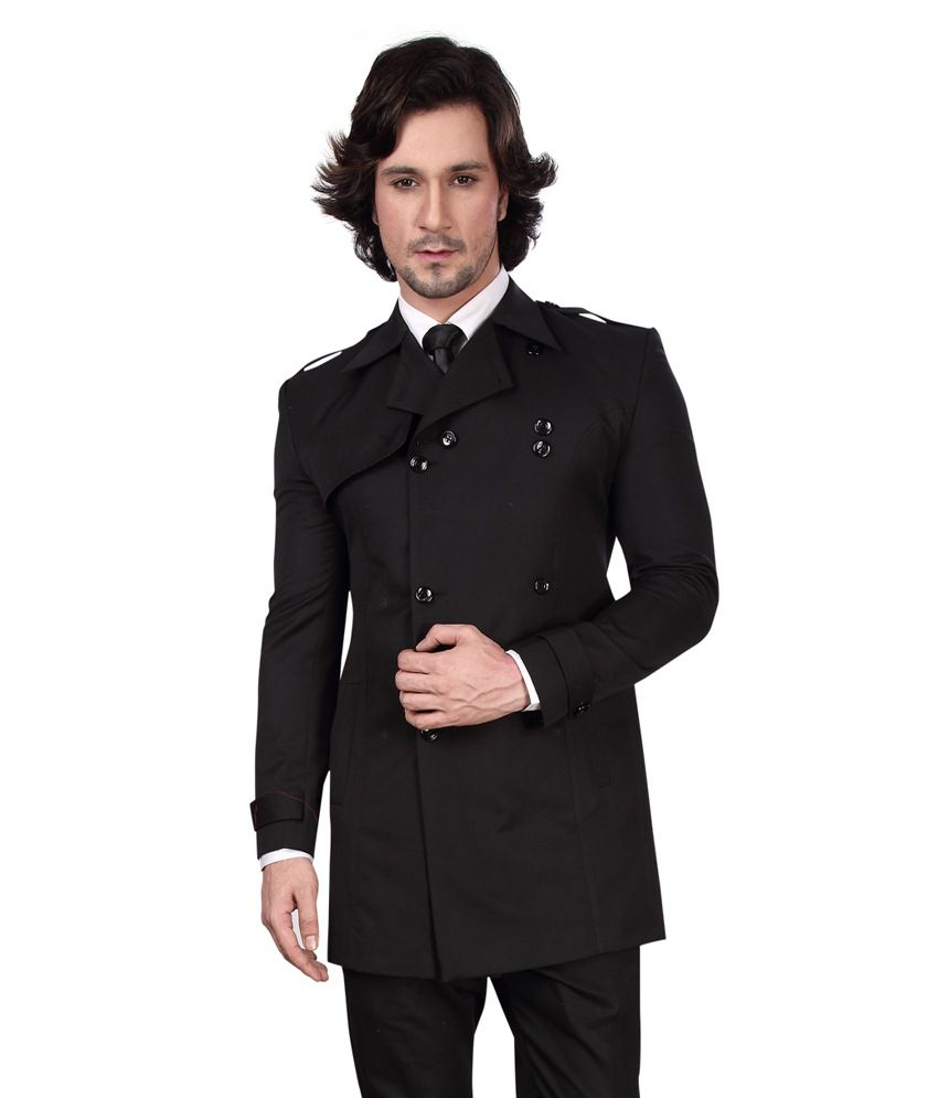 Dheerajsharma Black Cotton Blend Blazer
