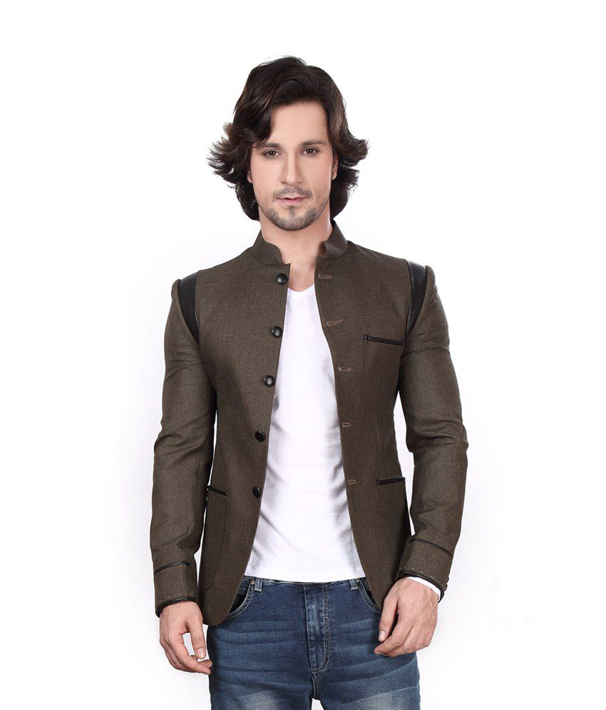 Dheerajsharma Brown Cotton Blend Blazer