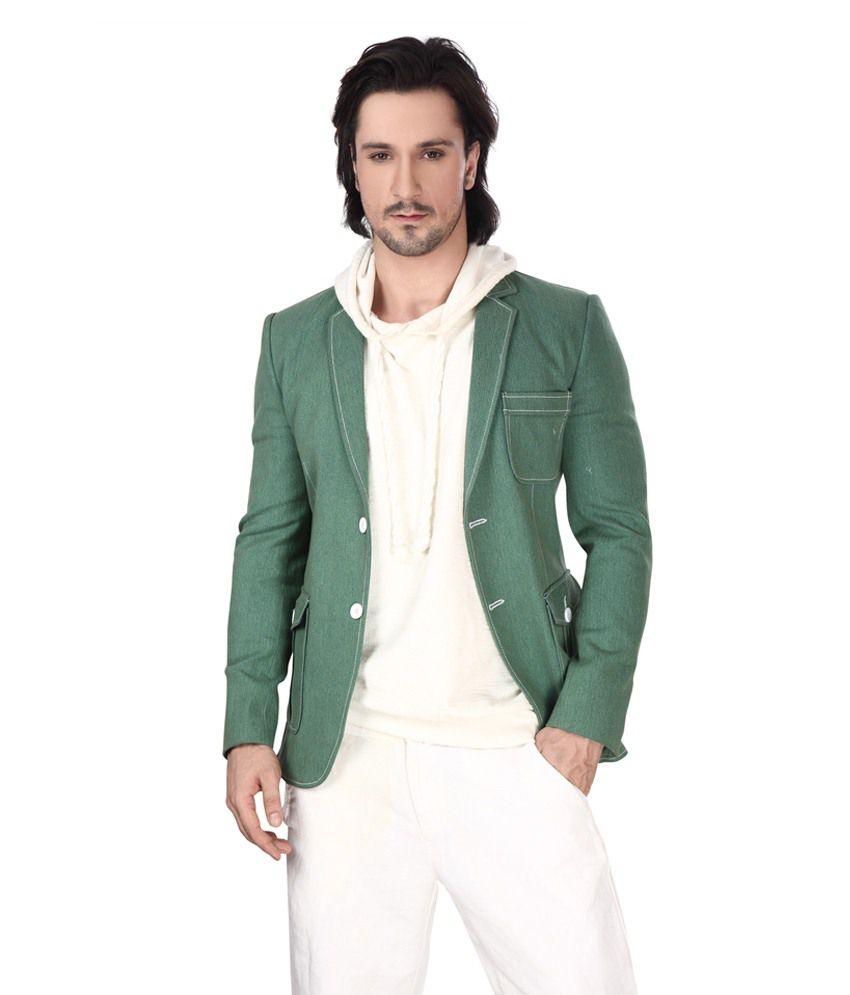 Dheerajsharma Green Cotton Blend Blazer