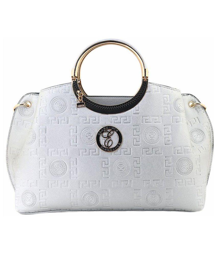 Eleegance Silver PU Satchel Bag