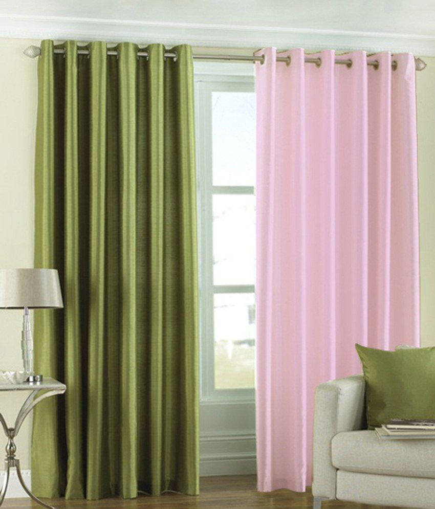 Homefab India Set of 2 Window Eyelet Curtains Solid Multi Color