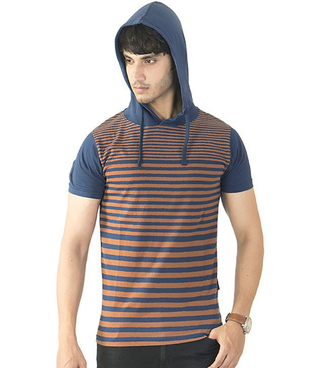 Avoir Envie Multicolour Cotton Stripers Half T-Shirt For Men