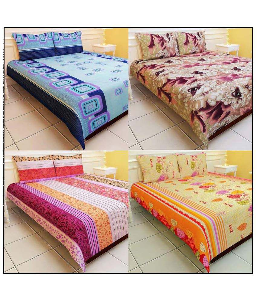 K2m2 Combo Of 4 Floral Polyester Double Bed Sheets With 8 Pillow Covers