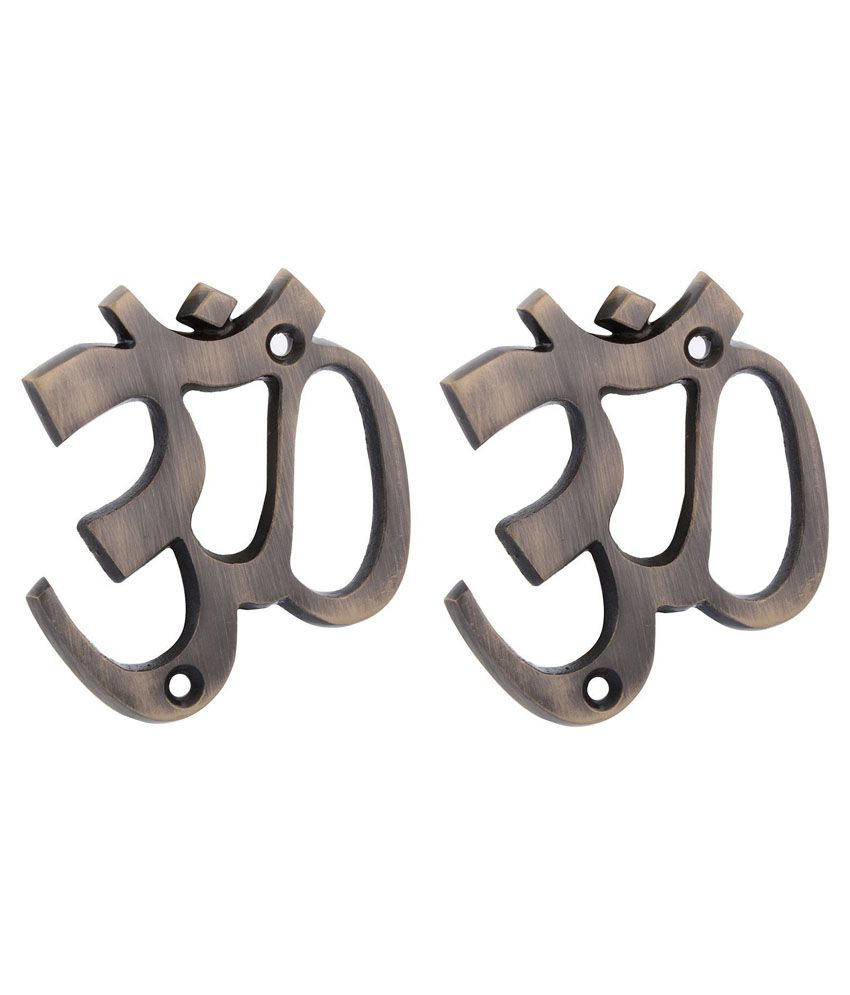 Ace Om Brass Wall Hanging Antique - Set Of 2