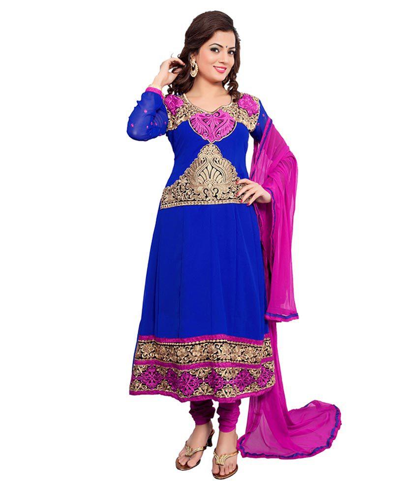 Creative Art Blue Pure Georgette Semi Stitched Dress ...