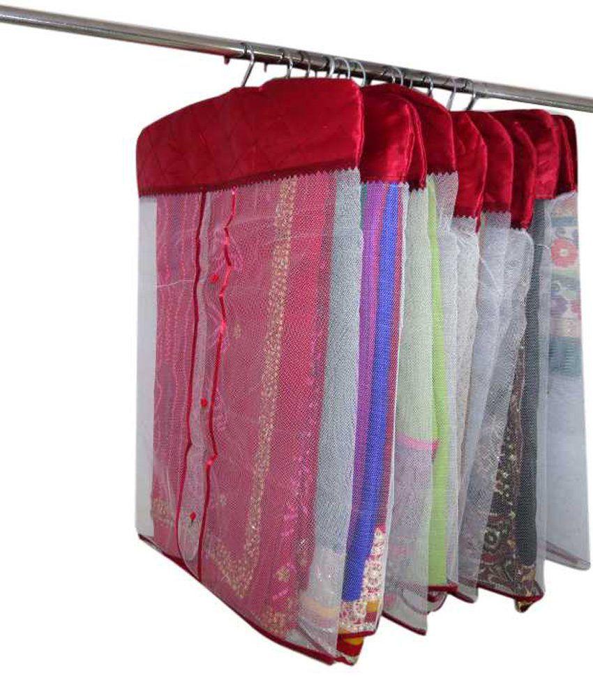 Kuber Industries Hanging Maroon Satin Saree Cover Set of 12