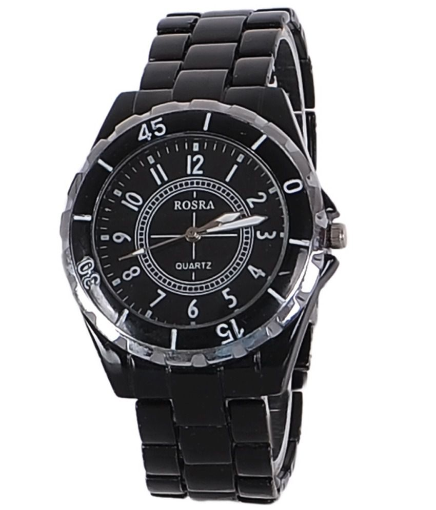 Rosra Black Steel Analog Watch low price