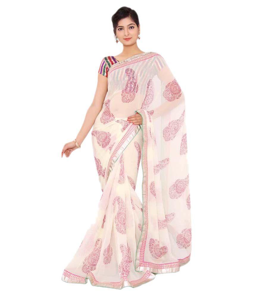 Shri Narayan Fashions White Viscose Saree