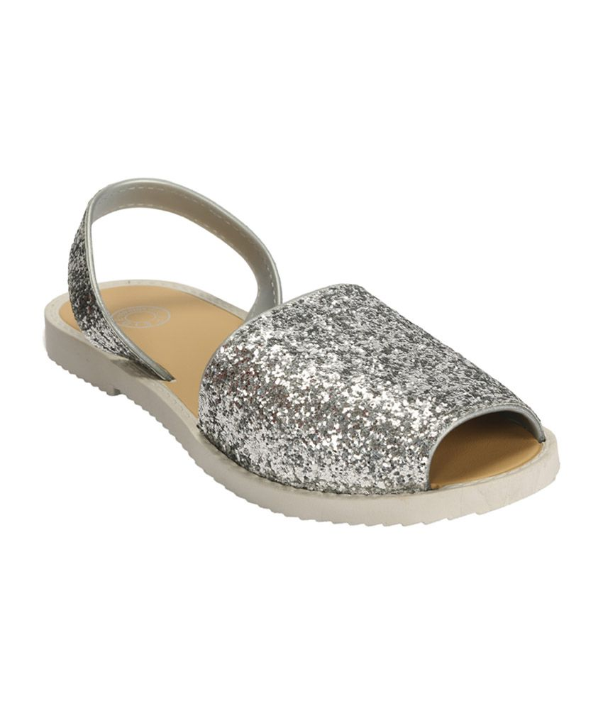 Flipside Womens Crystal Silver Slippers