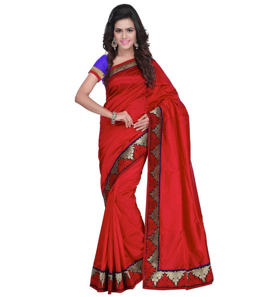 Indi Wardrobe Red Silk Saree