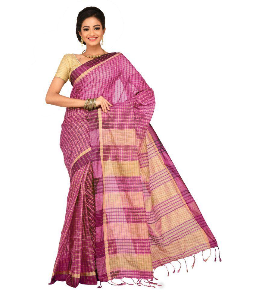 Sangam Kolkata Purple Cotton Saree