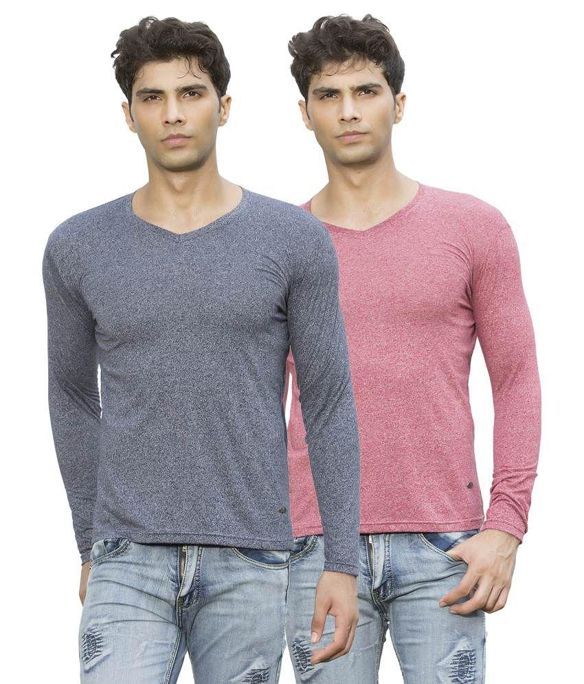 Maniac Multicolour Cotton Blend T-shirt Set Of 2