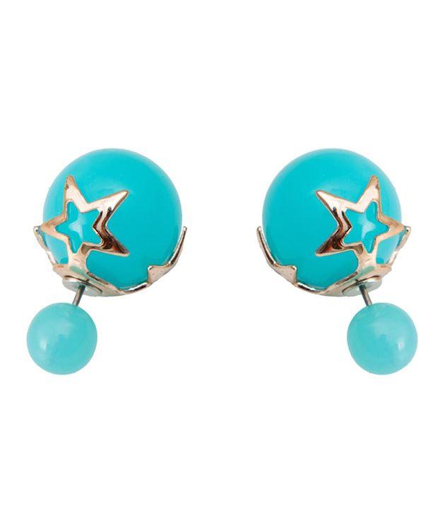 Taj Pearl Blue Designer Stud Earrings
