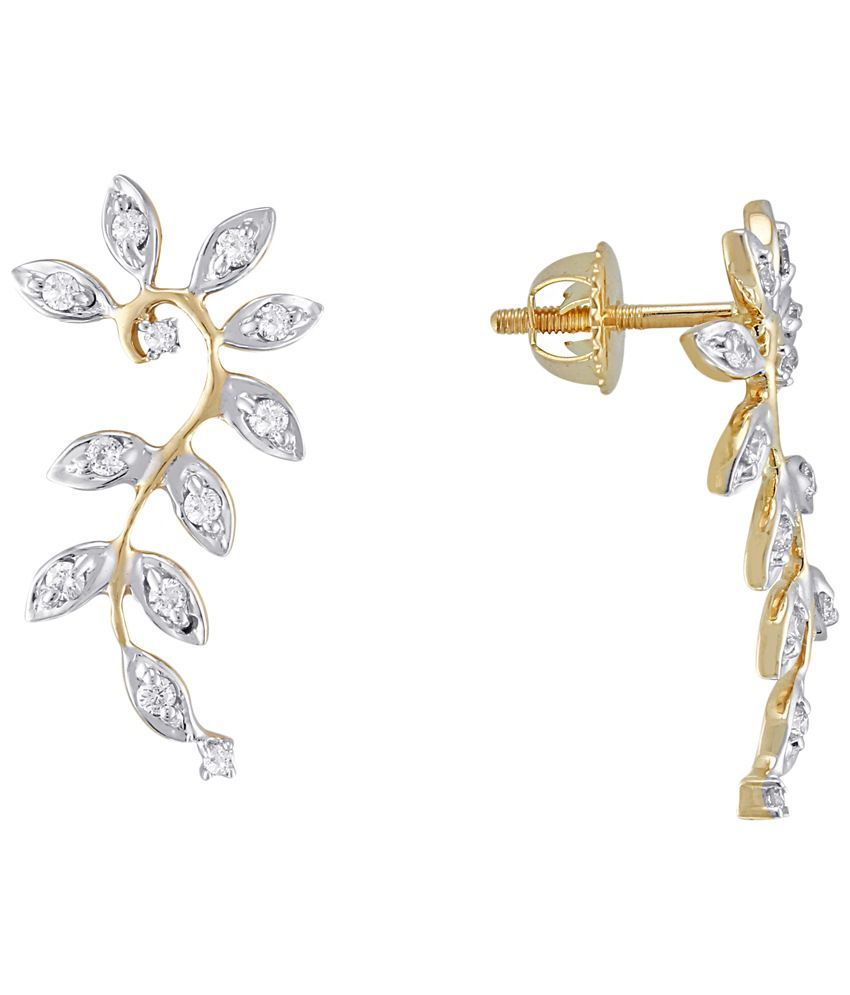 Asmi 18 Kt Gold & Diamond Contemporary Stud Earrings