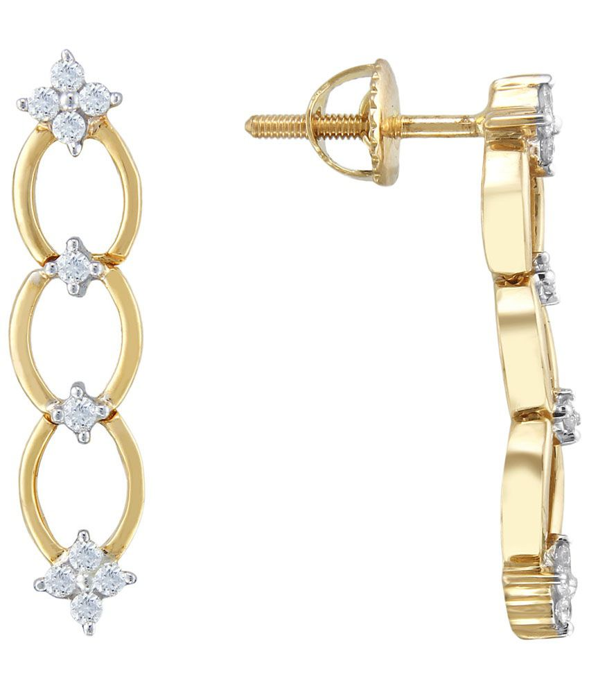 D'damas 18 Kt Gold & Diamond Contemporary Drop Earrings